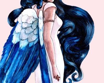 Blue Met Gala Fashion Illustration Wall Art Print