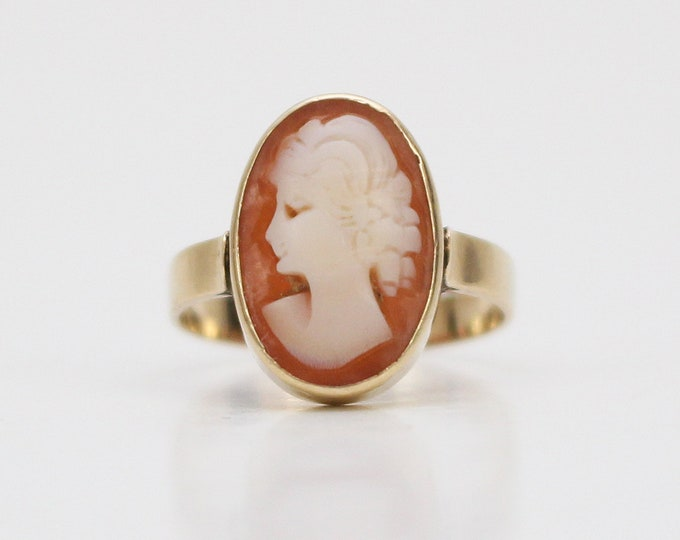 Antique 14k Gold Cameo Ring - Size 5.5