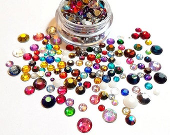 "Rhinestone faceted ""multicolor"", Flatback, Mixed Sizes, mix colors, no. Hotfix rhinestones, embellishments, decoden, diamond, 10 grams"