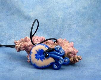 Night Sky Nautilus Necklace, Blue Handmade Polymer Clay Jewelry