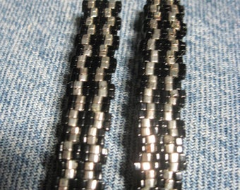 Black & Silver Toho 1.5 mm CUBE Beaded Stripe Barrettes....set of 2 Medium Size....hand made OOAK Original Design #948h