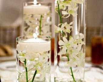 """set of 3 12""""X4""""/16""""X4""""/18""""X4"""" cylinders with floating candles and submersible silk flowers"""