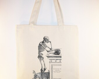 Detailed Skeleton with Gravestone and Skull Tote bag -- Selection of sizes available