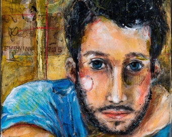 Portrait of a Young Man in Expressive Acrylic and Mixed Media Painting on Canvas - Expressive Art - 12x16 canvas - Contemporary Male Artwork