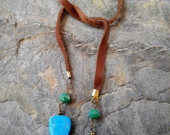 Carved Turquoise Stone Leaf and Opal Green Crystal Leather Lariat Necklace