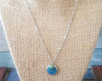 Blue iridescent mermaid necklace half off