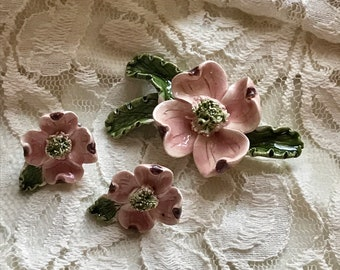 Vintage Dogwood Brooch & Clip Earrings. Pink Porcelain Ceramic Flower Easter Spring Pin. Handmade Painted Jewelry to Repurpose Mother's Day