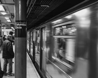 New York Subway Photo Black and White Print