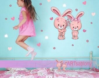 Wall sticker - Bunnies (3528f)