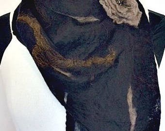 Felted Scarf, Felted Wrap, Felted Shawl, Nuno Felted Cobweb Scarf, Women's Accessories, GiftsforHer, Black & Tan Scarf, GracefulEweFiberArts