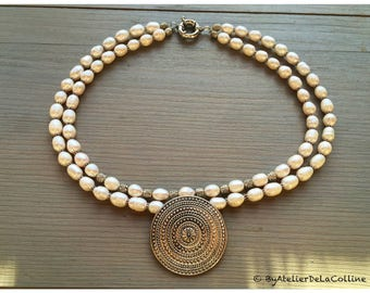 2-row cultured freshwater pearl necklace