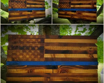 Rustic Burned-Cedar American Flag - Thin Blue Line Edition **America* *Freedom* *USA* *MAGA* *Handmade* *Country* *'murica* *2A* *Liberty**