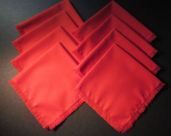 """8 handmade 15"""" red fabric dinner napkins, vintage cotton/polyester fabric, new old stock"""