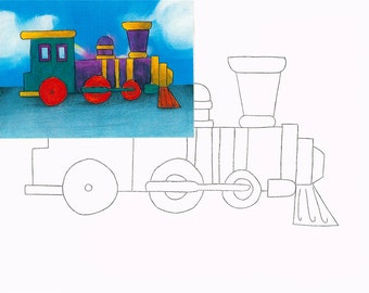 Train, Watercolor painting kit
