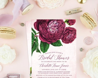 Vintage Flowers Bridal Shower Invitations - Printed Bridal Shower Invitations - Purple Floral Bridal Shower Invitations