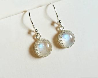 Luna - rainbow moonstone dangle earrings