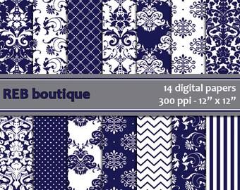 Digital Paper Damask - Digital paper, blue, navy, dark blue, white, damask, dots, chevron, stripes, paper pack, scrapbooking 24