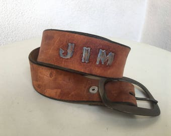 """Vintage hipster tan leather belt for JIM plus Bear paw prints engraved  on leather  fits 26""""-34.5"""""""