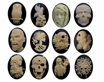 halloween decor 1dz scary skull cameo bulk 40x30 Gothic cameos Zombie Day of the Dead Lolita Fairy Owl molded resin horror cabochons 818x