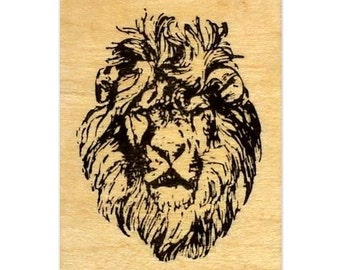 LION FACE mounted Africa rubber stamp, King of the Jungle, big cat, wild animal, Christian inspirational image, Sweet Grass Stamps No.17