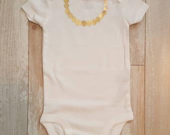 Gold Necklace preemie infant toddler onesie