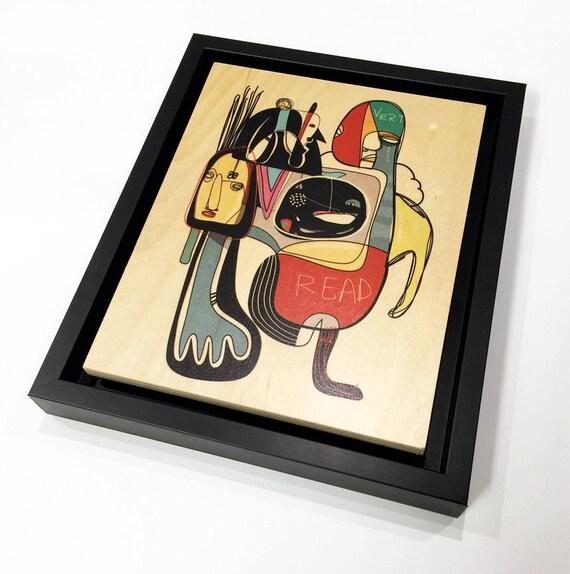 Vert - Original Vector Drawing - 8x10 Print on Wood - Framed