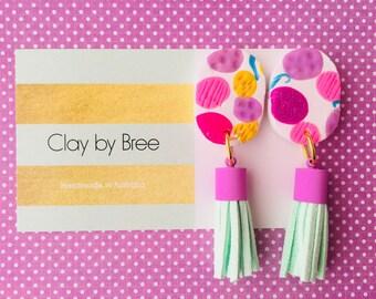 Pink Purple Summer Tropical tassel Polymer Clay Dangles Earrings