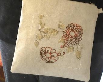 """sac en lin à bandoulière, crossbody, """"Dahlia""""  motif floral d'inspiration japonaise"""