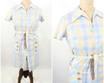 "1960s plaid dress | blue zip up plaid dress | vintage 60s dress | W 40"""