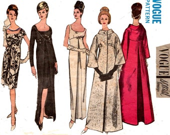 Vogue Special Design 6084 Womens Empire Waisted Evening Gown & Coat 60s Vintage Sewing Pattern Size 14 Bust 34 Inches
