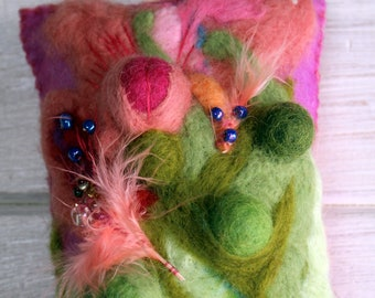 Pink feathery seed pods needle felted beaded hanging cushion