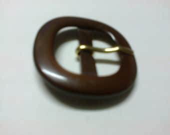 Well rounded square buckle Brown plastic 2.3 cm * BO90 *.
