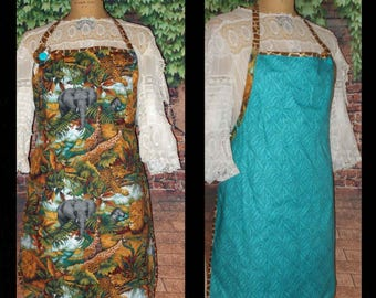 JUNGLE Theme Womens Apron FULLT REVERSIBLE  Two different prints Elephants Handmade One of a Kind