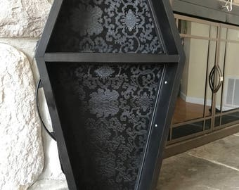 """SALE! 15% OFF! 30"""" Grindhouse Coffin Shelf - The Vallo - Goth, Gothic, Horror, Decor, Wiccan, Halloween,"""