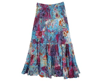Pretty Paisley Blue Printed Cotton Tiered Skirt Long with Elastic Waist