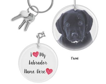 Black Lab Keychain - Black Lab Art SNPUP10 - Labrador Keychain - Black Lab Gifts - Personalized Keychain - Black Labrador Memorial Keychain