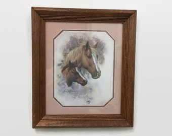 Vintage Horse and Pony Print - Framed - Doris Scott Nelson