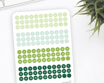 F54 | Mini Date Dots | Number Stickers | Calendar Stickers | Planner Stickers | Bullet Journal Stickers
