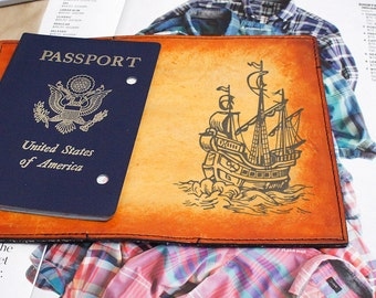 Passport Leather Cover - Pirate Ship - Customizable - Free Personalization