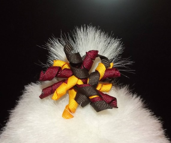 Puppy dog bows ~ 1 thanksgiving korker dog bow and 1 halloween korker pet hair bow snap clip US seller