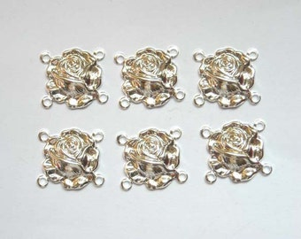 6 Silver Rose Flower Connectors - 4-FL-4