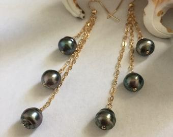 Trio Tahitian Pearl Earrings