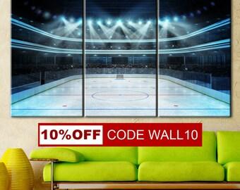 Hockey Room Decor, Boys hockey room, Ice hockey wall art, Ice hockey art, Boys ice hockey room, Ice Hockey Art Print, Hockey split canvas