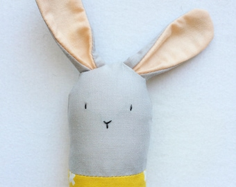 Gray and Yellow Bunny Rattle - Soft Baby Toy