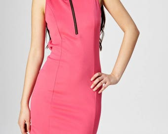 Neon Pink Scuba Dress With Front Zipper And Cut Out Back