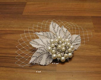 1920's  Boho Gatsby Wedding Lace Crystal Hair Comb. Crystal pearl Lace fascinator hairclip