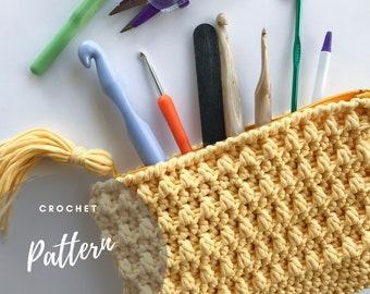 CROCHET PURSE PATTERN, Crochet Clutch, Crochet Wristlet, Notions Bag, Zipper Clutch, Crochet Tutorial, Instant Download, Nifty Notions Bag