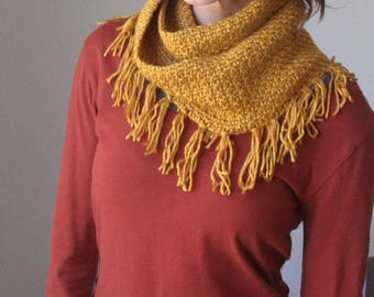 crocheted infinity scarf in Gold/circle scarf/fringe scarf