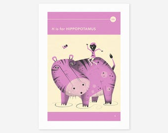 H is for HIPPOPOTAMUS (Giclée Fine Art Print/Photo Print/Poster Print) by Jazzberry Blue