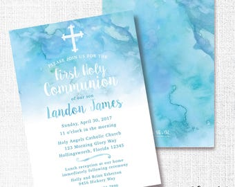 Boy 1st Communion Invitation, Printable, Blue First Invite, Baptism, Christening, Naming Ceremony, Dedication, Modern, Watercolor, Cross